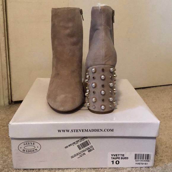 ce2dada3920 Steve Madden Taupe Yvette Suede Booties sz 10 NWT